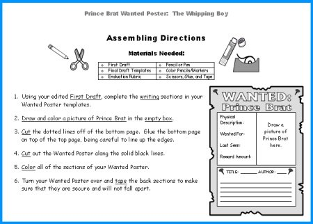 Whipping Boy Student Projects Wanted Posters Directions Worksheet