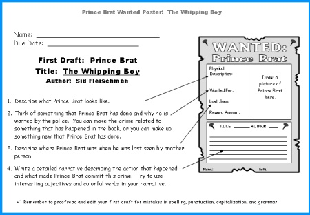 The Whipping Boy Student Wanted Posters Worksheets