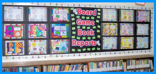 Game Board Book Report Projects:  Bulletin Board Display
