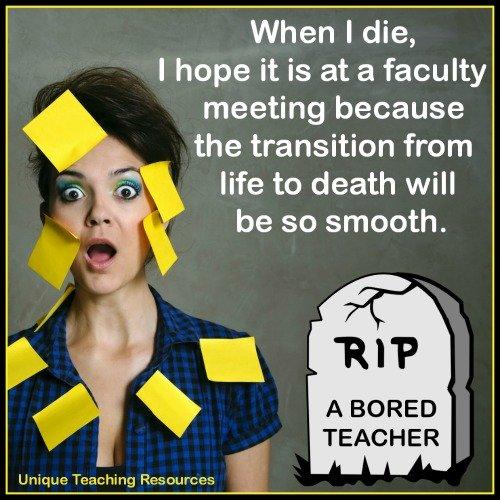 Bored teacher at faculty meeting