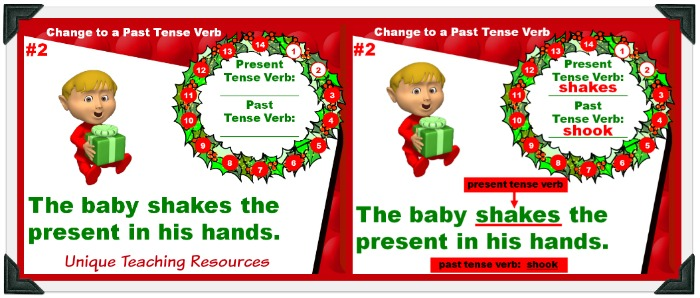 Review past and present tense verbs with your students using this fun Christmas powerpoint.