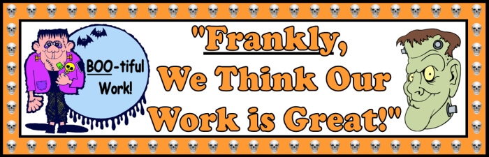 Free teaching resource to download - Halloween Frankenstein bulletin board display banner