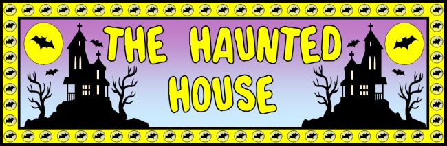 Free Halloween teaching resource to download - Haunted House bulletin board banner