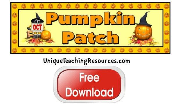 Click here to download this free Halloween Pumpkin Patch bulletin board display banner