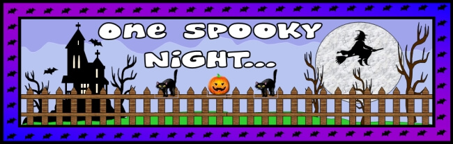 Free Halloween teaching resource to download - One Spooky Night bulletin board banner