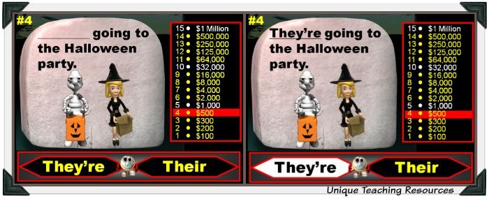 This fun Halloween powerpoint lesson review homophones.