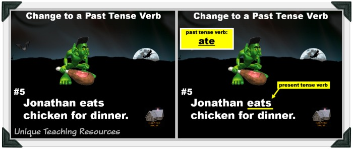For this fun Halloween powerpoint lesson, students change present tense verbs to past tense.