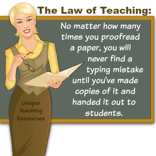 Funny teaching saying about proofreading typing mistakes.