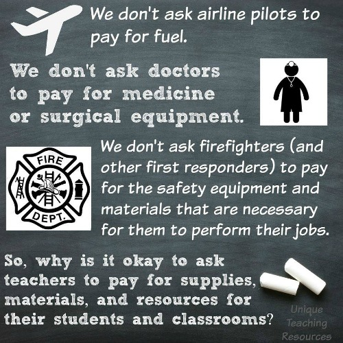 We don't ask airline pilots to pay for their fuel.  Teacher saying.
