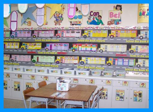 School Bus Book Report Projects Bulletin Board Display Picture, Ideas, and Example