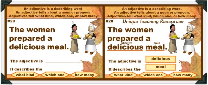 This fun Thanksgiving powerpoint lesson review adjectives.
