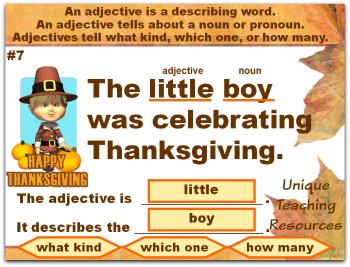 This fun Thanksgiving powerpoint lesson reviews adjectives.