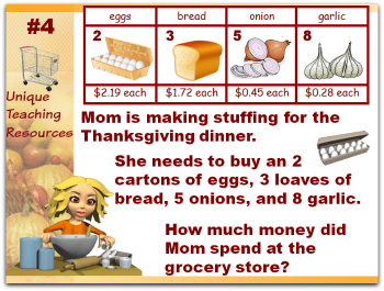 Click here to view Thanksgiving math word problems powerpoint.