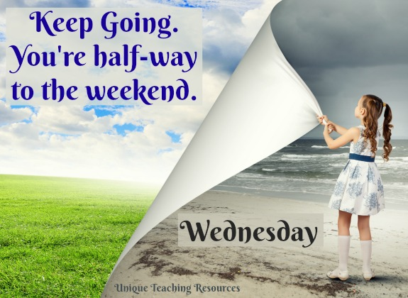 Wednesday quote:  Keep Going.  You're half-way to the weekend.
